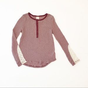 Tucker + Tate Striped Thermal Henley Top W/ Lace
